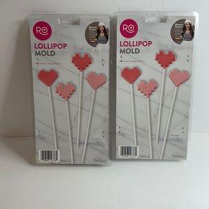 NIB set of two 2 Wilton lollipop molds Hearts
